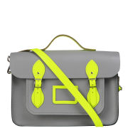 Cambridge Satchel Company 14 Inch Leather Designer Batchel - Grey/Fluorescent Yellow
