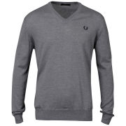 Fred Perry Men's V-Neck Knitted Jumper - Melange Grey