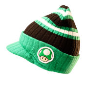 Mushroom - Billed Beanie Hat (Green/Black)