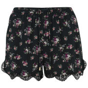 VILA Women's Fliga Floral Shorts - Black