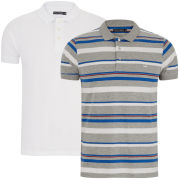 Brave Soul Men's 2-Pack Aquitania Polo Shirts - Multi Stripe/White