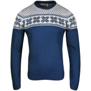 Brave Soul Men's Zain Fairisle Detail Crew Neck Jumper - Cobalt Blue