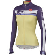 Castelli Women's Palma Long Sleeve Full Zip Jersey - Straw Yellow/Violet