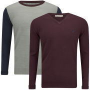 Brave Soul Men's Kinetic 2 Pack Knitted Jumpers - Aubergine/Natural Mix