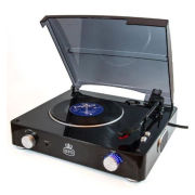 GPO Stylo Turntable (3 Speed) with Built In Speakers - Black