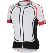 Castelli Aero Race 5.0 Full Zip Jersey - White/Black/Red