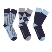 French Connection Men's 3 Pack Socks - Navy/Grey/Sky