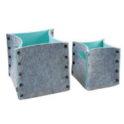 Mellow Felt Storage Baskets Set Of 2 - Grey/Pastel Green