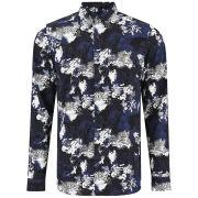 Lacoste L!ve Men's Reptile Long Sleeve Shirt - Blue/Black