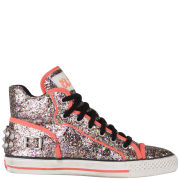 Ash Women's Vertigo High Top Leather Trainers - Multi/Fluro Peach
