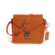 Peach Pink Violet Leather Satchel - Tangerine