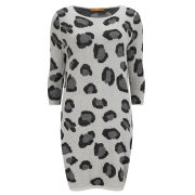 BOSS Orange Women's Big Leopard Knit Jumper Dress - 105 Grey