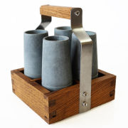 SPARQ Soapstone Vodka Shooter Set with Ash Caddy (Set of 4)