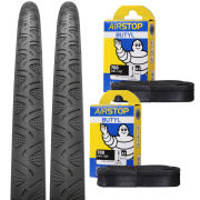 Continental Grand Prix 4000S II Reflex Clincher Road Tyre Twin Pack with 2 Free Inner Tubes - Black - 700C x 25mm
