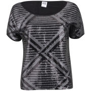 Vero Moda Women's Lima Short Sleeve Metallic Top - Dark Grey