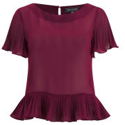 Girls On Film Women's Frill Hem Top - Burgundy