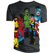 Iron Man/Spider-Man/Hulk/Thor/Captain America Panel T-Shirt - Grey