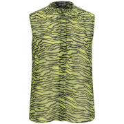 Maison Scotch Women's Printed Sleeveless Zebra Top - Green