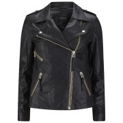 Gestuz Women's Haiku Perforated Leather Jacket - Black