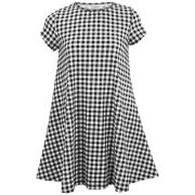 Glamorous Women's Gingham Print Swing Dress - Black/White