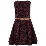 Club L Women's Animal Printed Belted Skater Dress - Berry/Black