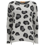 BOSS Orange Women's Big Leopard Knit Boxy Jumper - 105 Grey
