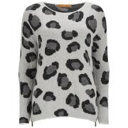 BOSS Orange Women's Big Leopard Knit Boxy Jumper - 105 Grey