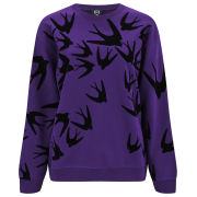 McQ Alexander McQueen Women's Classic Birds Sweatshirt - Fig With Block Flock
