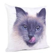 Malini Faux Suede Kitty Cat Print Cushion