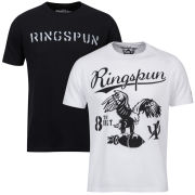 Ringspun Men's Graphic Printed  T-Shirt Two pack White/Black Stalker