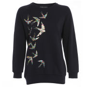Damned Delux Women's Swallow Print Sweatshirt - Blue