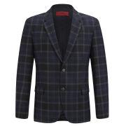 HUGO Men's Arnando Navy Check Flannel 2-Button Jacket - Navy