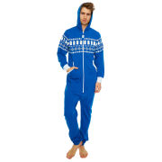 Doctor Who Tardis Fairisle Print Cotton Jumpsuit - Blue