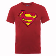 DC Comics Men's T-Shirt - Superman Shards Logo - Cherry Red