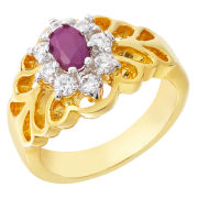 Two Toned Cubic Zirconia Oval Ruby Ring