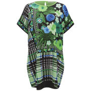 Emma Cook Women's Silk Kaftan Dress - Floral Check Green
