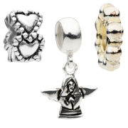 Amadora Angel And Hearts Pack Of Three Charms Set