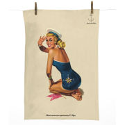 Pin Up Tea Towel with Vintage Graphic