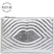 Lulu Guinness Exclusive to Harper's Bazaar Lip Quilted Leather Portfolio Clutch - Silver