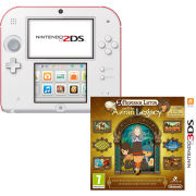 Nintendo 2DS White & Red Console: Bundle includes Professor Layton and the Azran Legacy