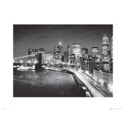 New York Manhattan Night - 60 x 80cm Print