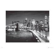 New York Manhattan Night - 60 x 80cm Print