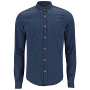 Scotch & Soda Men's Button-Down Polka Dot Denim Dress Shirt - Blue