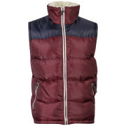 55 Soul Men's Rifle Sherpa Gilet - Burgundy/Navy
