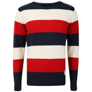 Crosshatch Men's Counter Striped Knitted Jumper - Tango Red