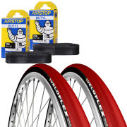 Michelin Dynamic Sport Clincher Road Tyre Twin Pack with 2 Free Inner Tubes - White 700c x 25mm
