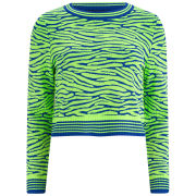 House of Holland Women's Knitted Crop Jumper - Green Zebra