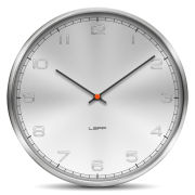 LEFF Amsterdam One 35cm Wall Clock - Stainless Steel Embossed Aluminium Arabic