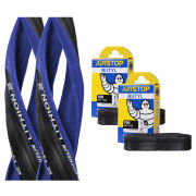Michelin Lithion 2 Clincher Road Tyre Twin Pack with 2 Free Tubes - Blue/Black 700c x 23mm