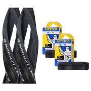 Michelin Lithion 2 Clincher Road Tyre Twin Pack with 2 Free Tubes - Grey/Black 700c x 23mm